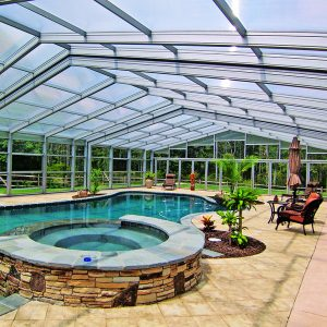 Multiwall polycarbonate pool enclosure