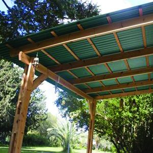 Green PVC Corrugated patio covering